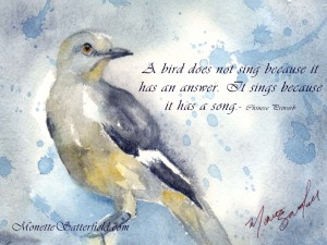 Mockingbird Watercolor by Monette Satterfield